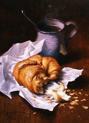 Morning Croissant by Andrew Lattimore, oil painting, 8 x 10.