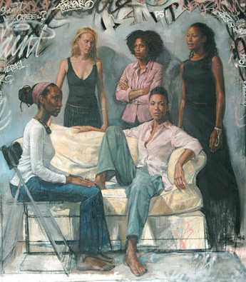 La Familia II (Sisters) by Tim Okamura, oil on canvas, 84 x 74, 2006.