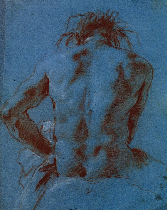 Tiepolo, Study of the Back, pencil drawing with sanguine and white chalk.