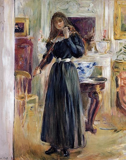 Julie Playing the Violin by Berthe Morisot, 1893, oil painting.
