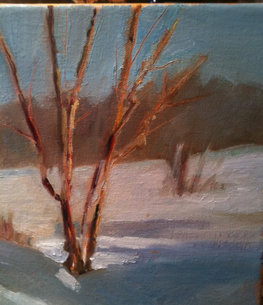 Oil painting by Judith St. Ledger-Roty, illustrating how an undertone warms a work up.