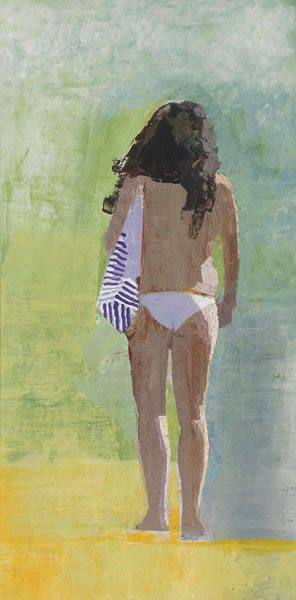 Woman with Striped Bag by John Evans, 30 x 15, oil on canvas.
