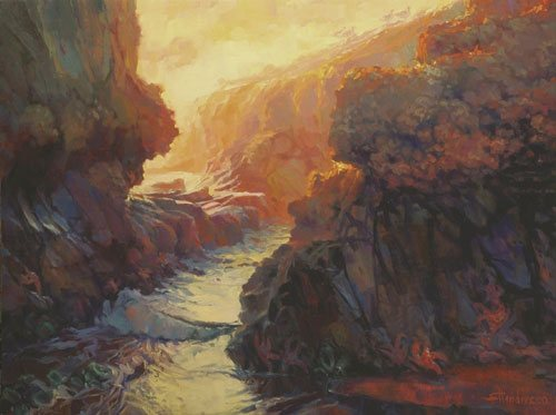A workshop gives you the opportunity to start at one point in your artistic journey and walk through your own passage to the other side. Passage by Steve Henderson, 30 x 40, oil painting, also available as note cards.