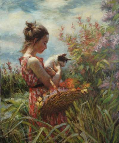 Kittens, auctions, and flowers—harbingers of spring. Garden Gatherings by Steve Henderson, available as a signed limited edition print and note card through the Steve Henderson Fine Art website.