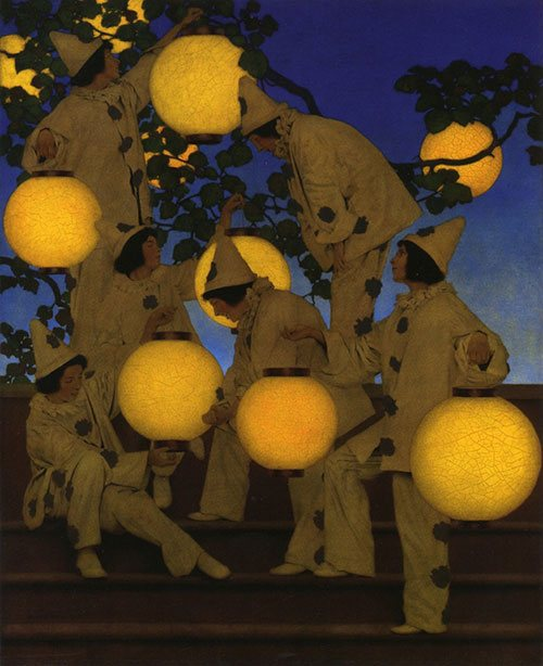 The Lantern Bearers by Maxfield Parrish, 1908, oil on canvas board, 40 x 32.