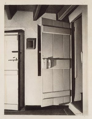 The Open Door by Charles Sheeler, 1932, conté crayon on paper, mounted on cardboard.