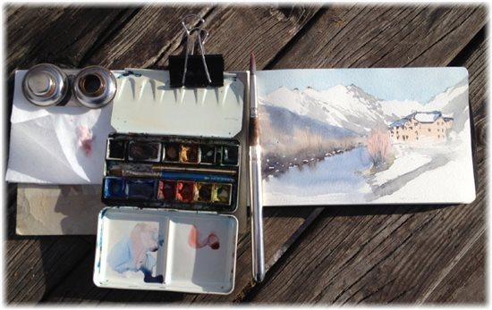 Winter plein air painting tool set