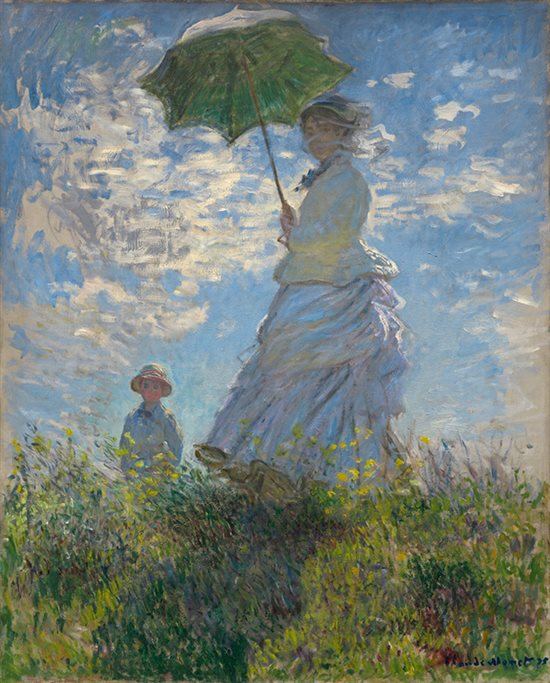 Woman with a Parasol - Madame Monet and Her Son by Claude Monet, 1875, oil on canvas.