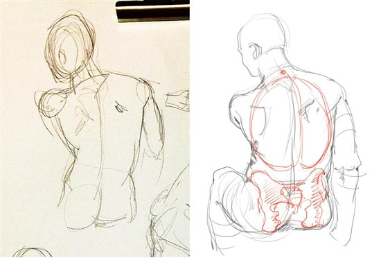 You can fix this figure drawing by adjusting the rib cage volume.