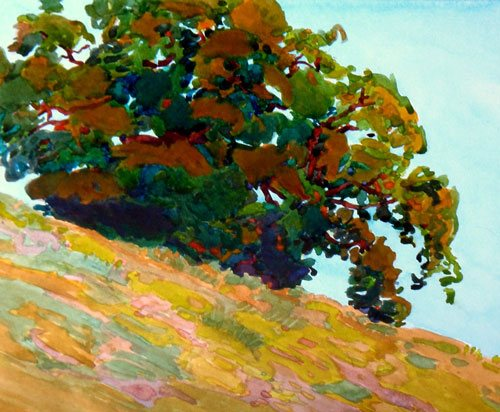 Summer Oak by Robin Purcell, watercolor painting, 10 x 12.