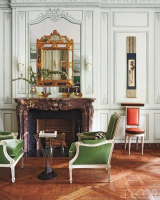 I saved this image from an online home decorating magazine because I liked both the arrangement of shapes and the color palette.