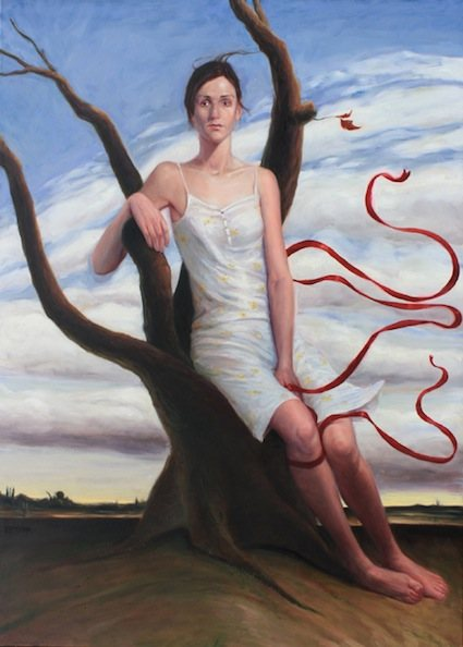 Elizabeth with Ribbon by David Pettibone, oil painting, 2008.