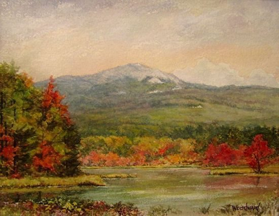 Monadnock from Perkins Pond  Medium: watercolor, Varnished (no glass) on paper on panel Size: 11 x 14 by Lori Woodward