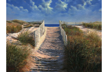 South Beach Path 2001 Oil 18 X 24 Private Collection