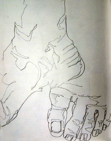 Beginner drawings: A student's Blind Contour drawing of feet from the Pacific University website.