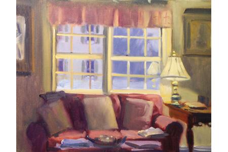 Winter Interior 2004, Oil, 11 X 14. Courtesy Bucks Gallery Of. Fine Art,  Newtown, Pennsylvania.
