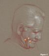 My Father Posing for Facial Folds--drawing by Dan Gheno