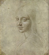 Study for the Angel in Madonna of the Rocks--a drawing by Leonardo