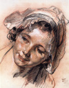 Head of a Young Woman--a drawing by Jean-Baptiste Greuze