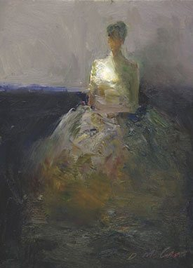 Seated Figure by Dan McCaw, oil painting, 12 x 9.