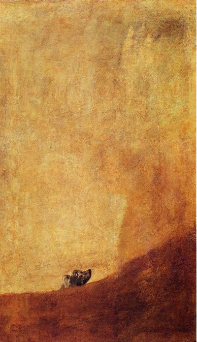 The Dog by Francisco Goya, ca. 1819, oil on canvas from plaster transfer to canvas, 51 x 31. Collection the Prado, Madrid, Spain.
