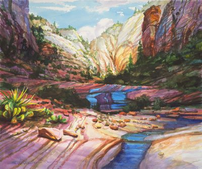 Unless you take the time to blog, write, post, market and advertise your presence, your amazing website will remain undiscovered, like a secret stream in a hidden canyon. Blue Ribbon by Steve Henderson of  Steve Henderson Fine Art.