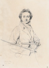 Paganini by Ingres, graphite drawing
