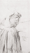 Study for the Portrait of Madame d'Haussonville by Ingres, graphite drawing