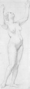 Nude Study for the Figure of France in The Apotheosis of Napoleon by Ingres, drawing