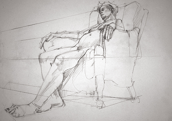Contour of a Woman Relaxing by Alex Zwarenstein, 2002, graphite, 20 x 30.