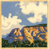 Clouds and Bluff by Brad Teare, woodcut