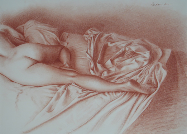Sarah IX 2004, red chalk, 19 x 26. Collection Scott Noel.The undulating movement of the leg is particularly beautiful as it tapers from thigh to ankle. In this drawing, I played this beautiful rhythm off against the intricate folds of the drapery, themselves incredibly sensuous.