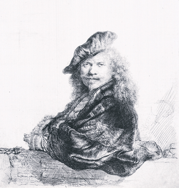 Self-portrait in a Beret ca. 1660, pen and black/brown ink, brush and gray ink with white bodycolor on brown toned paper, 3¼ x 2¾. Collection Albertina Museum, Vienna, Austria.