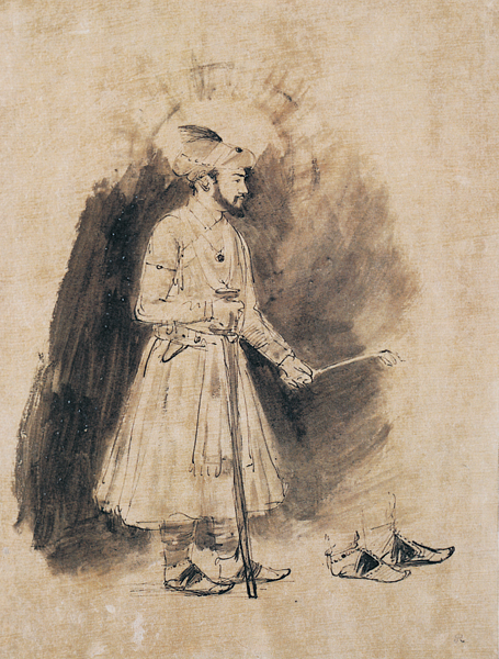 Shah jahan ca 1656 1661 pen and brown ink brush and brown