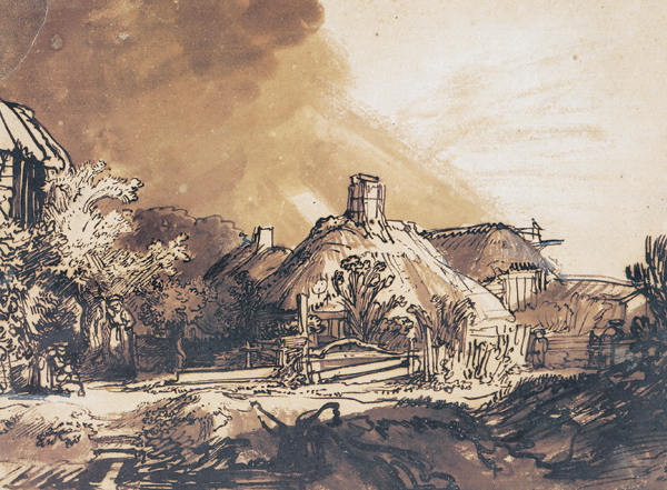 Cottages Under a Stormy Sky ca. 1635, pen and brown ink, brown and gray wash with white bodycolor on brownish prepared paper, 7 x 9. Collection Albertina Museum, Vienna, Austria.