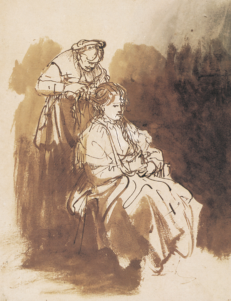 A Young Woman at Her Toilet ca. 1635, pen and brown ink, brush and brown and gray inks, 9¼ x 7. Collection Albertina Museum, Vienna, Austria.