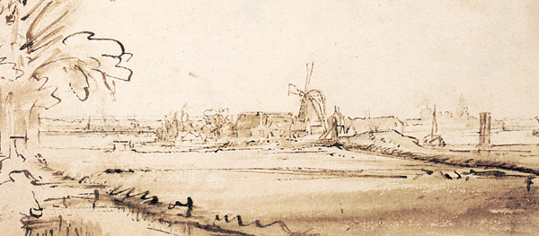 Open Landscape With Houses and a Windmill (The Former Copper Mill on the Weesperzijde) ca. 1648, pen and brown ink with brown wash, 4¾ x 9½. Collection Albertina Museum, Vienna, Austria.