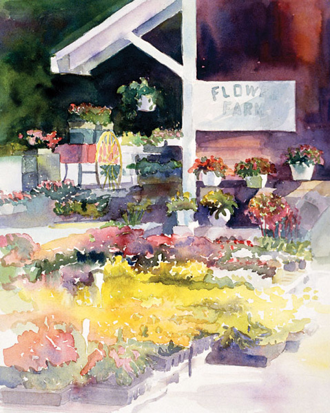 Flower Farm 1998 by Peggy Dressel, watercolor artist. Beginner watercolor art tutorial on paints brought to you by Artists Network
