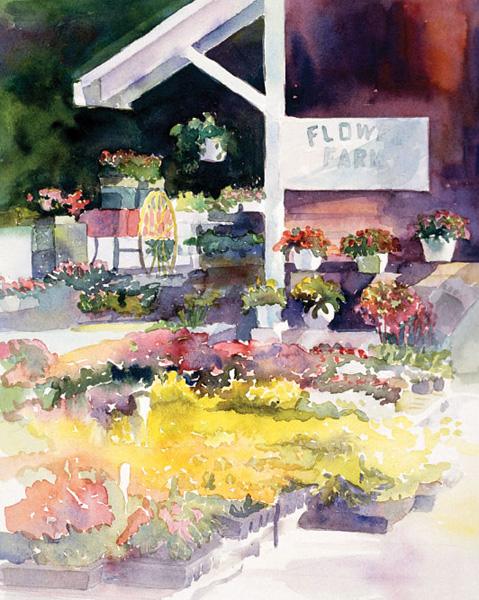 Flower Farm 1998 by Peggy Dressel watercolour artist. Beginner watercolor art tutorial on paints.