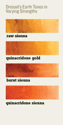 Earth tones for beginner watercolor art palette.