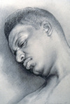 Andre by Ephraim Rubenstein, charcoal and white chalk drawing