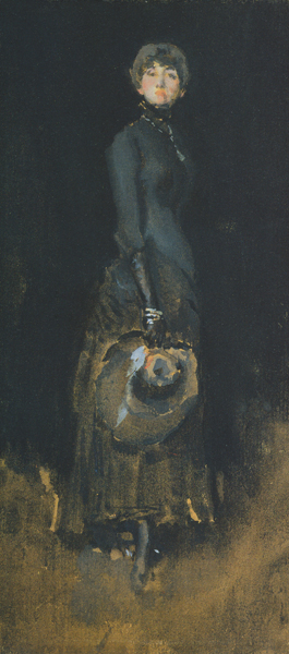 Lady in Gray by Whistler, 1883-1884, gouache on brown paper mounted on card, 7 7/8 x 10 9/16.