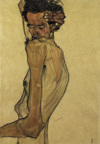 Self-portrait With Arm Twisted Above Head by Egon Schiele, drawing