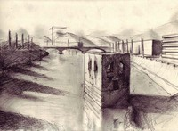 July 22, 2007, Sunset in Verona at Ponte by Victor Timofeev, drawing
