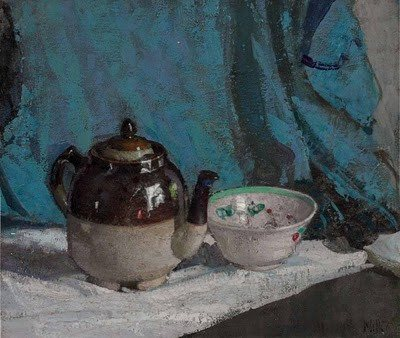 This is a simple but moving still life by Richard Edward Miller, composed of a simple tea pot and cup.
