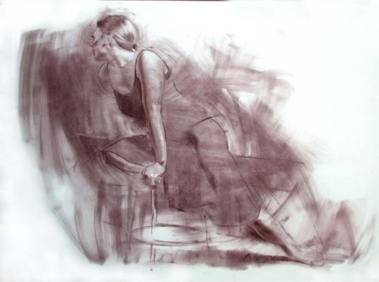 In the Studio by Robert Barrett, 2006, pastel on paper, 22 x 28.