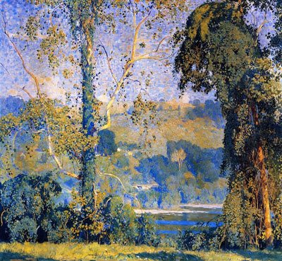 A landscape painting by Daniel Garber full of rich color.