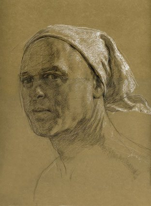 Self Portrait by Jon deMartin, 2011, chalk drawing on toned paper, 17 x 14.
