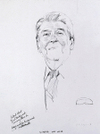 Graphite drawing by Henry Casselli, President Ronald Reagan (Oval Office)