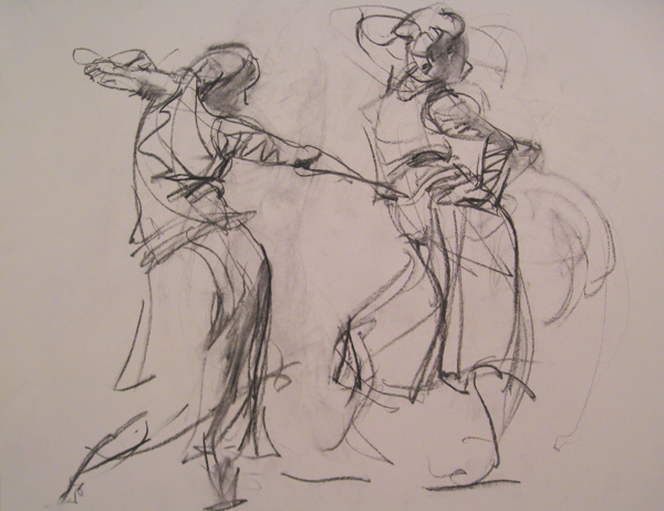 The Dancers by Patricia Hannaway, charcoal drawing.